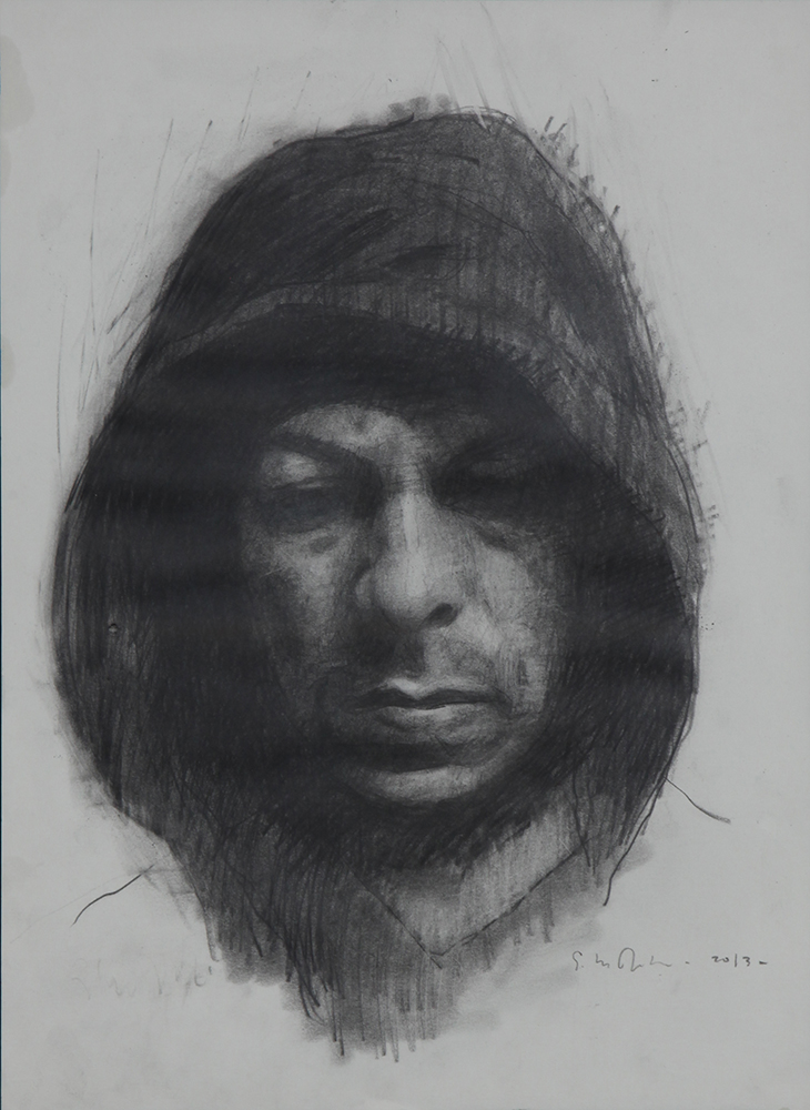 Eloy  Morales -  <strong>Edgar</strong> (2013<strong style = 'color:#635a27'></strong>)<bR /> pencil and charcoal on paper,   16.5 x 11.63 inches  (41.71 x 29.54 cm)