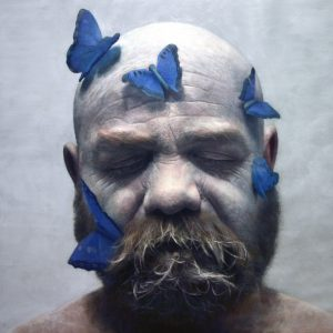 Eloy  Morales -  <strong>Francisco With Butterflies</strong> (2013<strong style = 'color:#635a27'></strong>)<bR /><div>oil on canvas</div> <div> </div> <div>62 x 62 inches  (160 x 160 cm)</div> <div>