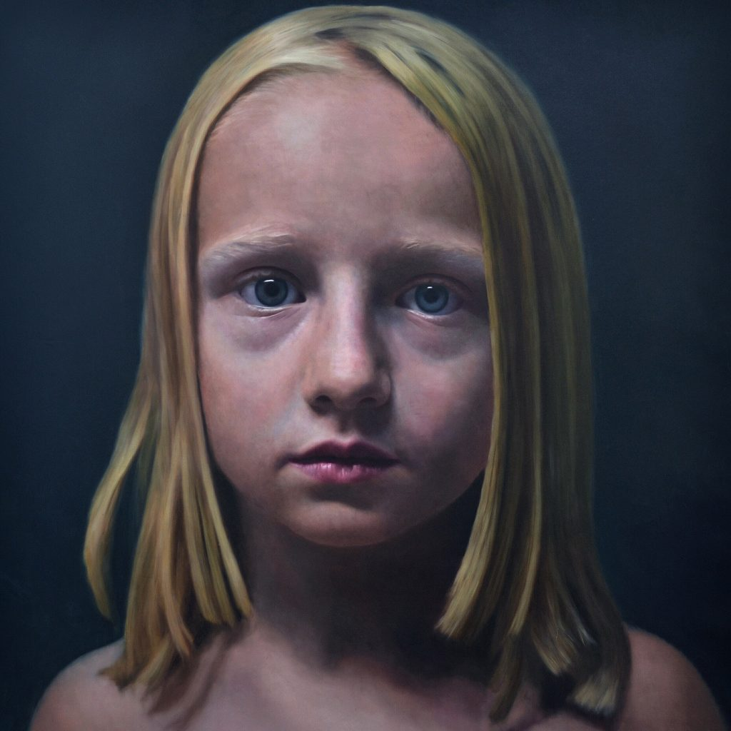 Eloy  Morales -  <strong>Head Number Three</strong> (2014<strong style = 'color:#635a27'></strong>)<bR /> oil on canvas,   47.24 x 47.24 inches  (120 x 120 cm)