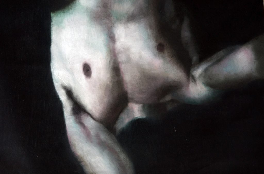 Eloy  Morales -  <strong>Headless Torso 2</strong> (<strong style = 'color:#635a27'></strong>)<bR /> oil on canvas,   15.75 x 23.62 inches  (40 x 60 cm)