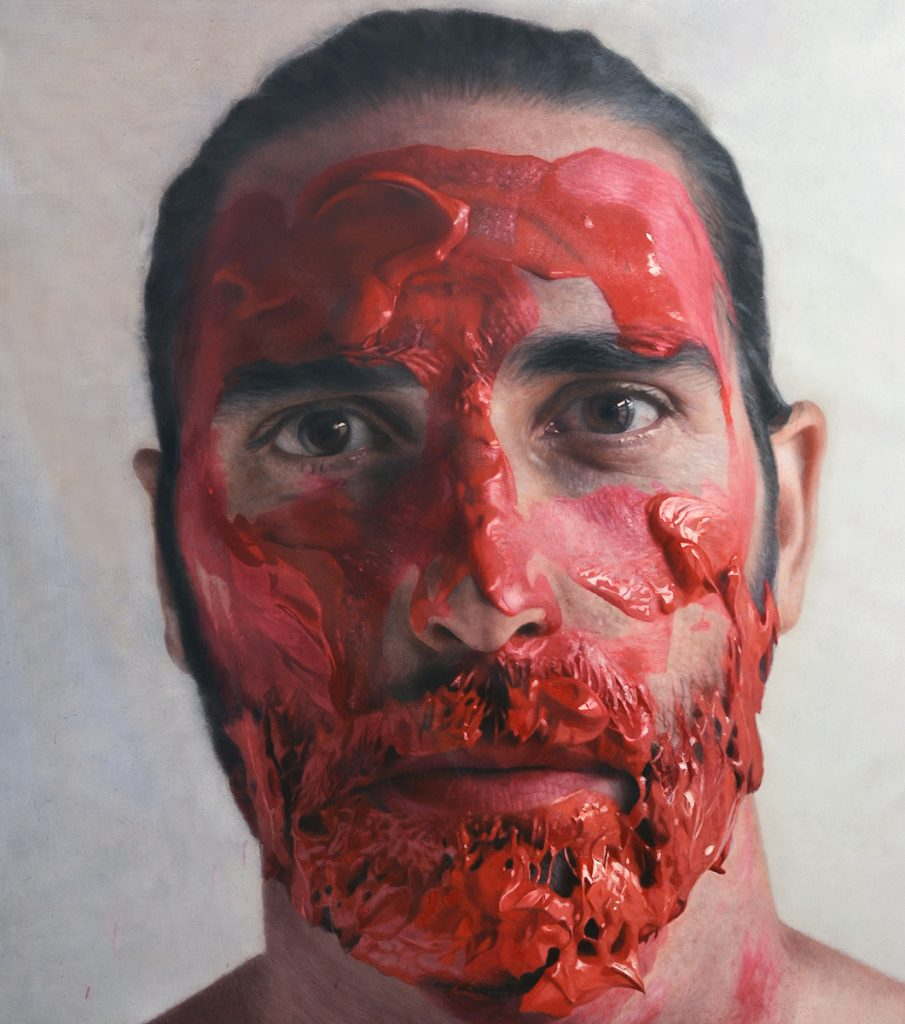 Eloy  Morales -  <strong>Paint My Head</strong> (2013<strong style = 'color:#635a27'></strong>)<bR /><div> <div>oil on canvas</div> <div> </div> <div>63 x 63 inches  (160 x 160 cm)</div> <div> </div> <div>