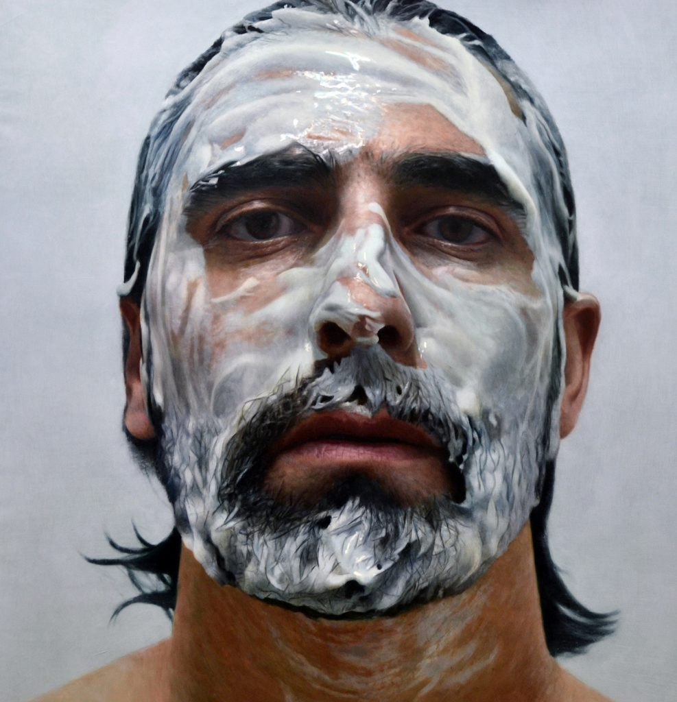 Eloy  Morales -  <strong>Paint in My Head Number 10</strong> (2014<strong style = 'color:#635a27'></strong>)<bR /> oil on canvas,   62.4 x 62.4 inches  (160 x 160 cm)