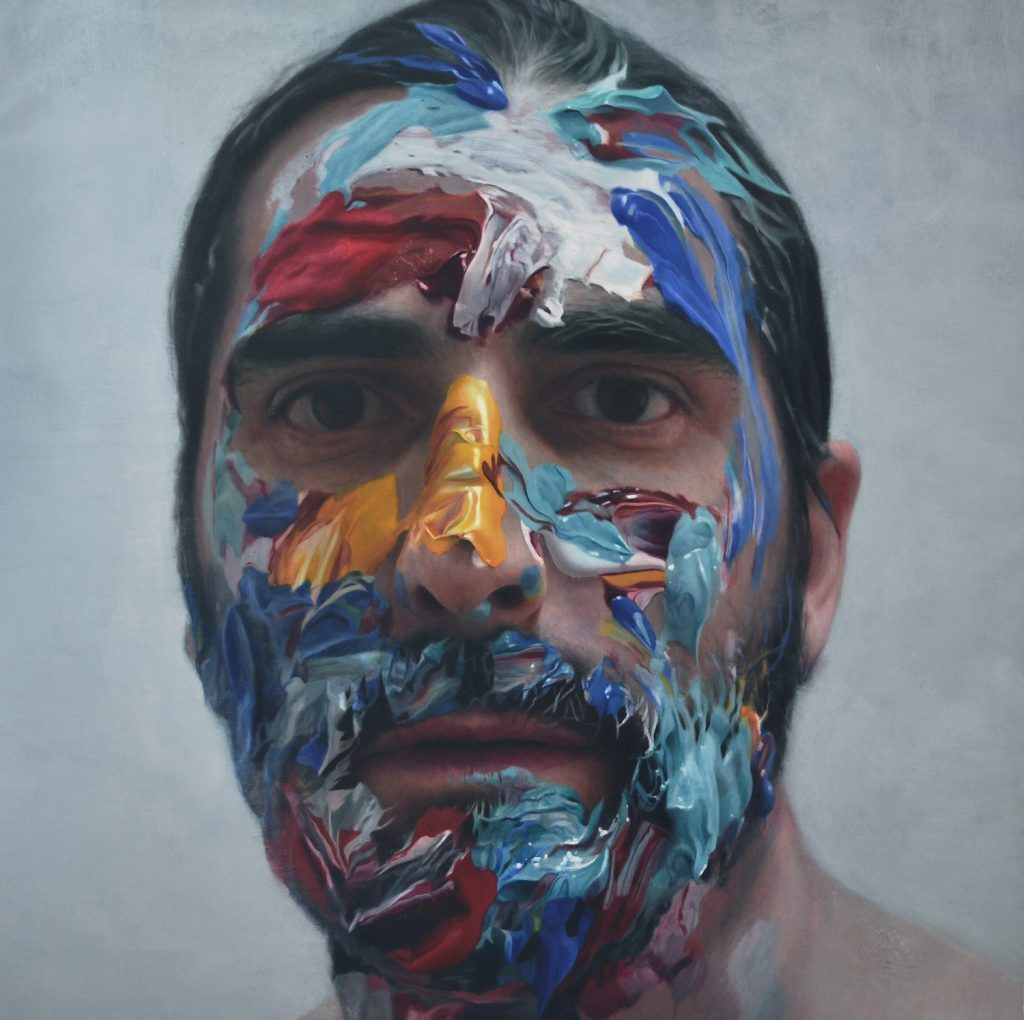 Eloy  Morales -  <strong>Paint in My Head Number 11</strong> (2014<strong style = 'color:#635a27'></strong>)<bR /> oil on canvas,   62.4 x 62.4 inches  (160 x 160 cm)