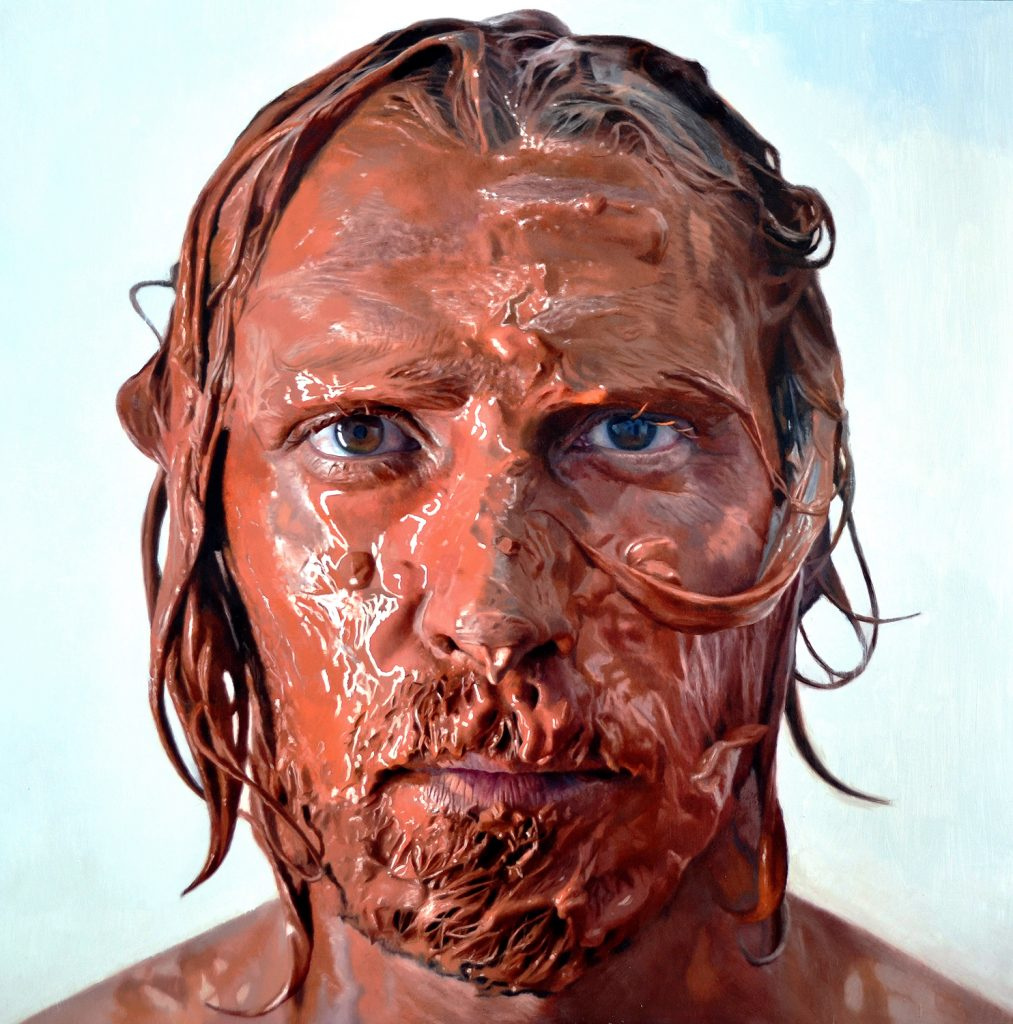 Eloy  Morales -  <strong>Paint in My Head Number 12</strong> (2014<strong style = 'color:#635a27'></strong>)<bR /> oil on canvas,   62.4 x 62.4 inches  (160 x 160 cm)