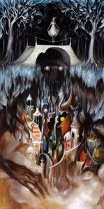 Esao  Andrews -  <strong>The Guarded Fairground</strong> (2010<strong style = 'color:#635a27'></strong>)<bR /> oil on board,   48 x 24 inches  (121.92 x 60.96 cm)