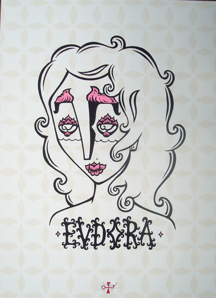 Stephan  Doitschinoff -  <strong>Eudora</strong> (2008<strong style = 'color:#635a27'></strong>)<bR /> Silkscreen Print,   Signed edition of 50,   Frame size:29 1/4 x 22 1/4,   Image size: 26 1/4 x 19 1/4,   Framed piece: $450.00,   Unframed: $200.00