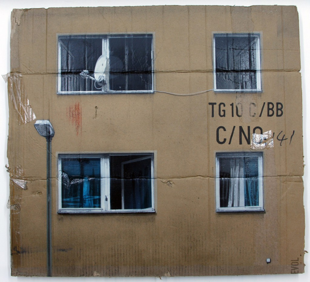 EVOL  &nbsp -  <strong>C/No4 (HPM, Neighborhood Watch Version #4)</strong> (2011<strong style = 'color:#635a27'></strong>)<bR /> spray paint on cardboard,   23.23 x 25.59 inches (59 x 65 cm)  28.125 x 31.125 x 3.5 inches, framed