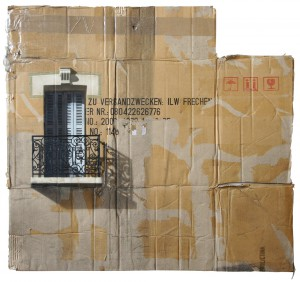 EVOL    -  <strong>Exportware (HPM, Trouville Version #1)</strong> (2012<strong style = 'color:#635a27'></strong>)<bR /> spray paint on cardboard,   29.52 x 31.49 inches (75 x 80 cm)  35 x 37 x 3.5 inches, framed
