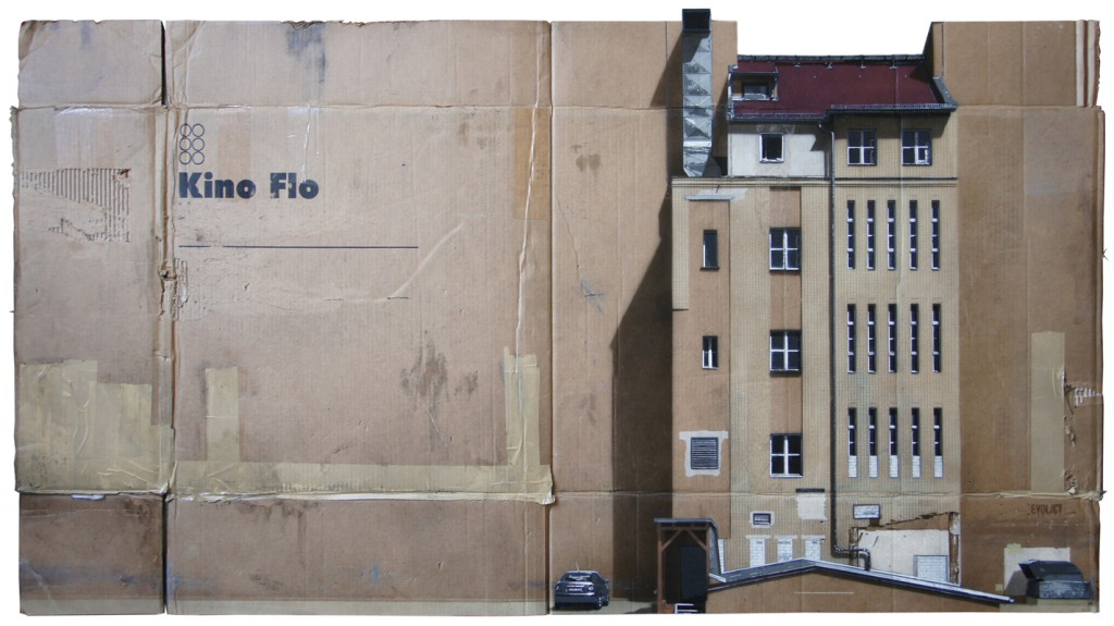 EVOL  &nbsp -  <strong>Großes Kino (HPM, Charlottenstr Version #3)</strong> (2012<strong style = 'color:#635a27'></strong>)<bR /> spray paint on cardboard,   34.84 x 63.38 inches (88.5 x 161 cm)  40.125 x 67.75 x 3.5 inches, framed