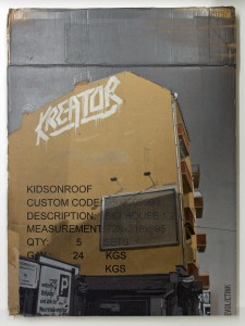 EVOL   -  <strong>Kids on Roof (HPM, Boxhagener/Kreator Version #2)</strong> (2011<strong style = 'color:#635a27'></strong>)<bR /> spray paint on cardboard,   33.07 x 24.4 inches (84 x 62 cm)  38.125 x 29 x 3.5 inches