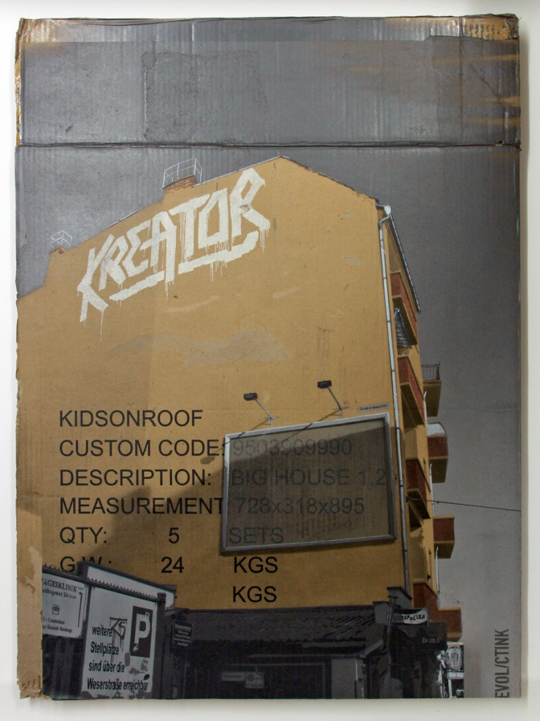 EVOL  &nbsp -  <strong>Kids on Roof (HPM, Boxhagener/Kreator Version #2)</strong> (2011<strong style = 'color:#635a27'></strong>)<bR /> spray paint on cardboard,   33.07 x 24.4 inches (84 x 62 cm)  38.125 x 29 x 3.5 inches