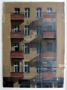 EVOL    -  <strong>Rosige Zukunft (HPM, Warschauer Strasse Version #4)</strong> (2011<strong style = 'color:#635a27'></strong>)<bR /> spray paint on cardboard,   35 x 23.62 inches (89 x 60 cm)  38 x 29.5 x 3.5 inches, framed