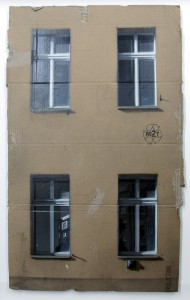 EVOL    -  <strong>Same Old Story (HPM, Jannowitz Version)</strong> (2011<strong style = 'color:#635a27'></strong>)<bR /> spray paint on cardboard,   34.25 x 20.86 inches (87 x 53 cm)  39.125 x 26 x 3.5 inches, framed