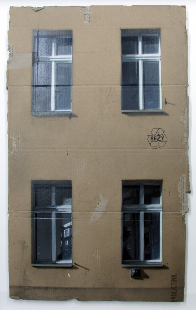 EVOL  &nbsp -  <strong>Same Old Story (HPM, Jannowitz Version)</strong> (2011<strong style = 'color:#635a27'></strong>)<bR /> spray paint on cardboard,   34.25 x 20.86 inches (87 x 53 cm)  39.125 x 26 x 3.5 inches, framed
