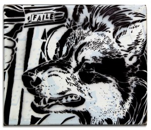 Faile    -  <strong>Excaliber Stencil</strong> (2014<strong style = 'color:#635a27'></strong>)<bR /> acrylic, silkscreen and spray paint on wood, steel frame,   12 x 10 x 3 inches  (30.48 x 25.40 x 7.62 cm)