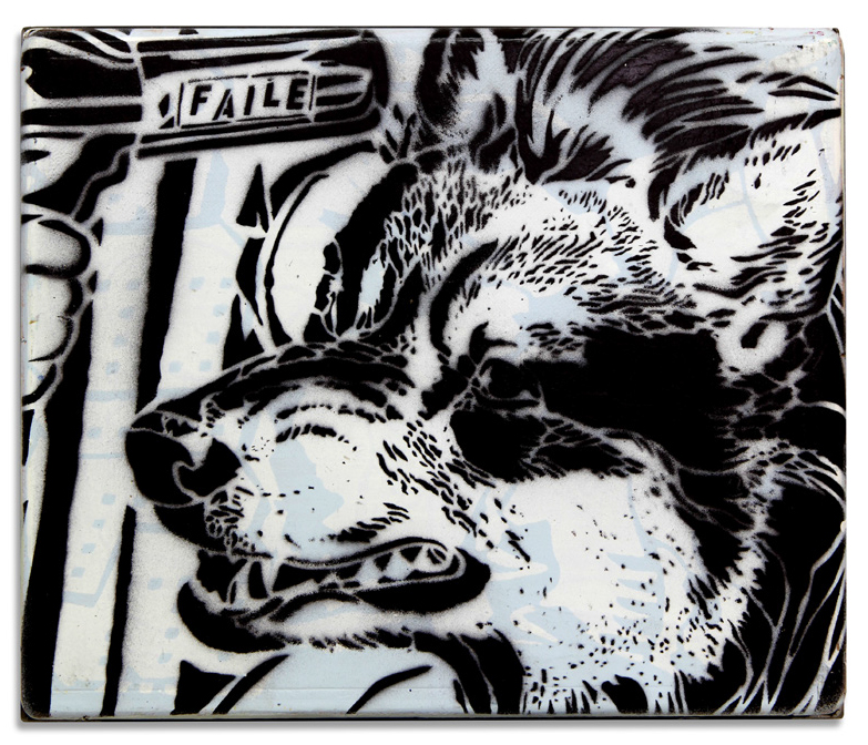 Faile  &nbsp -  <strong>Excaliber Stencil</strong> (2014<strong style = 'color:#635a27'></strong>)<bR /> acrylic, silkscreen and spray paint on wood, steel frame,   12 x 10 x 3 inches  (30.48 x 25.40 x 7.62 cm)