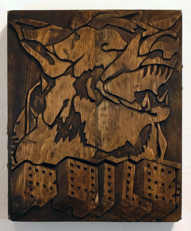 Faile  &nbsp -  <strong>FAILE Dog Carving</strong> (2014<strong style = 'color:#635a27'></strong>)<bR /> silkscreen ink on hand carved wood, steel frame,   10 x 10 x 4 inches  (25.40 x 25.40 x 10.16 cm)