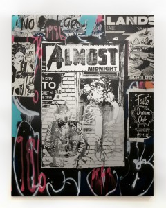 Faile   -  <strong>Almost 86</strong> (2014<strong style = 'color:#635a27'></strong>)<bR /> acrylic, silkscreen ink and spray paint on canvas,   78 x 62 inches  (198.1 x 157.5 cm)