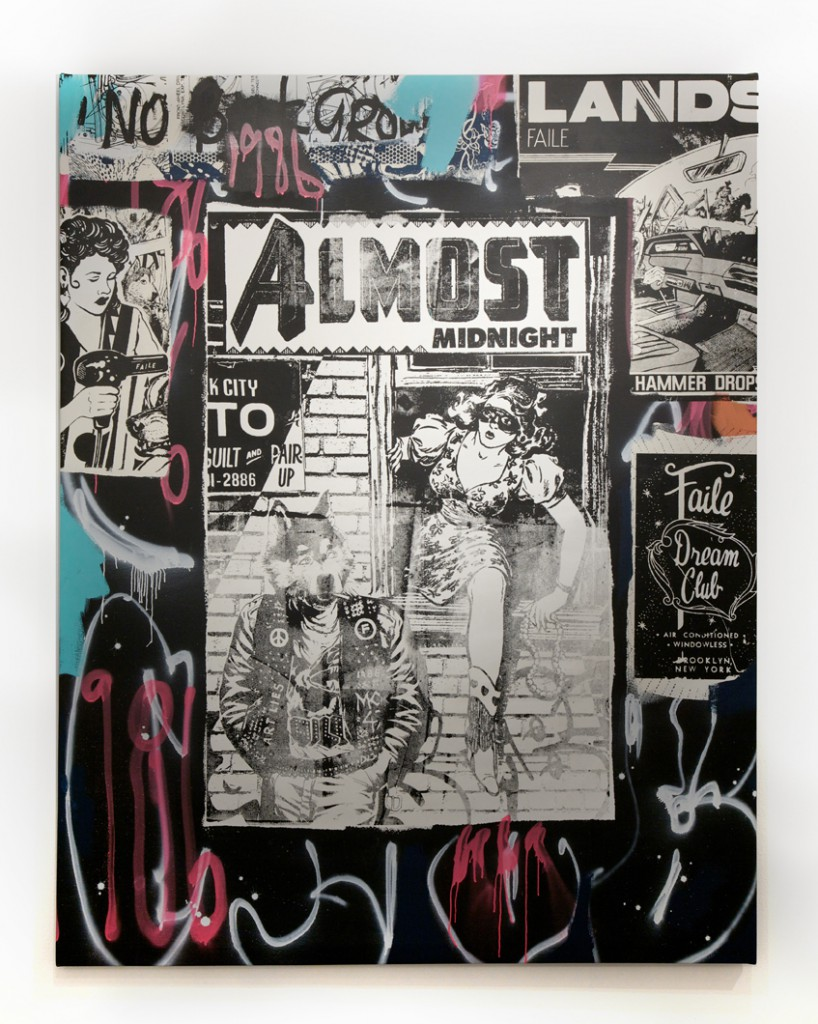 Faile  &nbsp -  <strong>Almost 86</strong> (2014<strong style = 'color:#635a27'></strong>)<bR /> acrylic, silkscreen ink and spray paint on canvas,   78 x 62 inches  (198.1 x 157.5 cm)