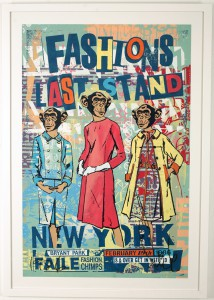Faile  &nbsp -  <strong>Fashion's Last Stand</strong> (2011<strong style = 'color:#635a27'></strong>)<bR /> acrylic and silkscreen on paper,   38 x 25 inches  (96.5 x 63.5 cm)  41 x 31 inches, framed