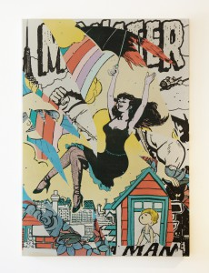 Faile   -  <strong>Monster Poppins</strong> (2013<strong style = 'color:#635a27'></strong>)<bR /> acrylic and silkscreen ink on canvas,   88 x 62 inches  (223.5 x 157.5 cm)