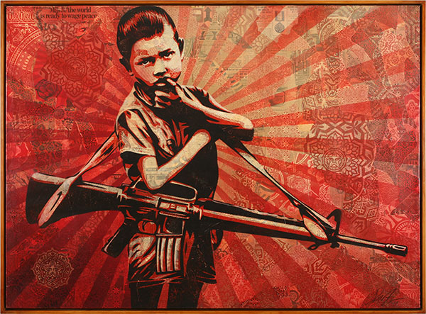 Shepard  Fairey -  <strong>DOH 5</strong> (2009<strong style = 'color:#635a27'></strong>)<bR /> stencil and mixed media collage on canvas,   44 x 60 in. (111.8 x 152.4 cm)  45.75 x 61.75 in. framed