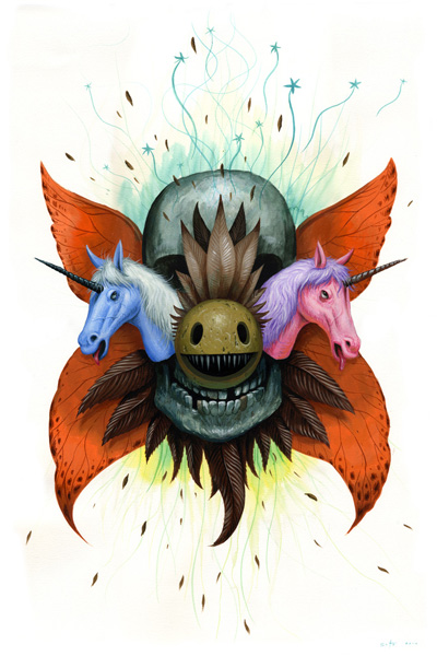 Jeff  Soto -  <strong>Fall - Aging</strong> (2010<strong style = 'color:#635a27'></strong>)<bR /> acrylic on paper  22.5 x 15 inches (57.15 x 38.1 cm)   25.25 x 17.75 inches, framed