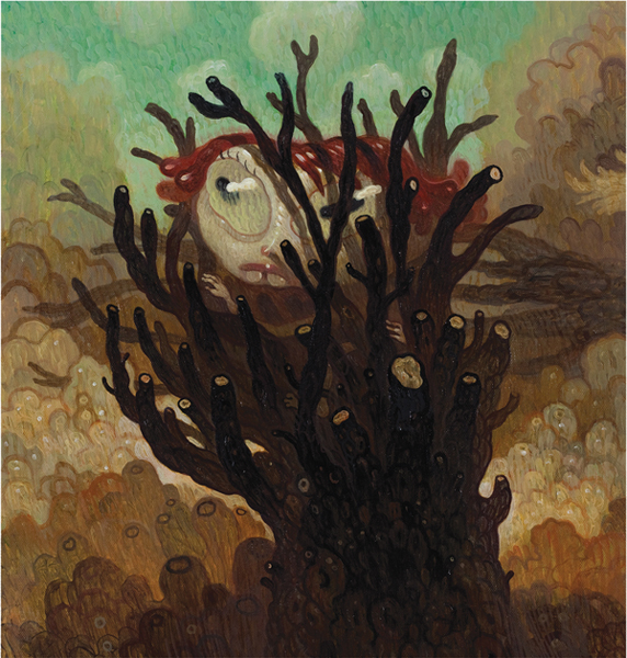 Dave  Cooper -  <strong>Fallen, panel A</strong> (2010<strong style = 'color:#635a27'></strong>)<bR /> oil on canvas  16.5 x 15.25 inches  (41.91 x 38.74 cm)