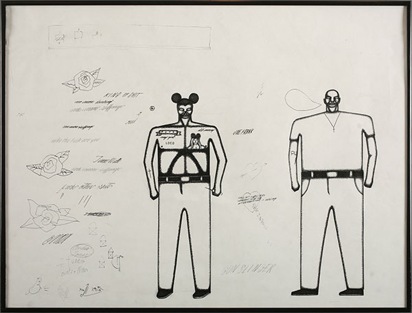 Date Farmers  &nbsp -  <strong>Fallout Shelters</strong> (2010<strong style = 'color:#635a27'></strong>)<bR /> ink and graphite on paper,   18 x 24 inches  (45.72 x 60.96 cm)