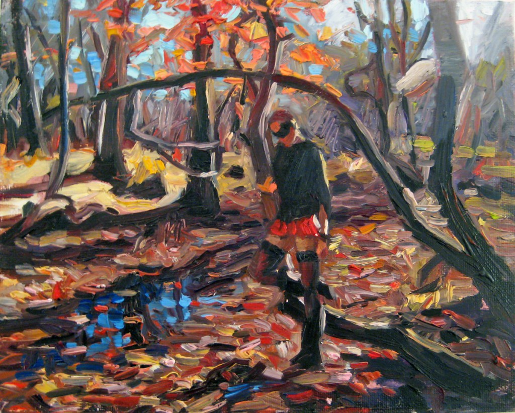 Natalia  Fabia -  <strong>Tina in Meadow Lands, Study</strong> (2011<strong style = 'color:#635a27'></strong>)<bR /> oil on canvas panel,   8 x 10 inches  (20.32 x 25.4 cm)