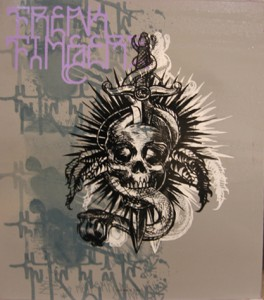Hamilton  Yokota (Titi Freak) -  <strong>skull</strong> (2006<strong style = 'color:#635a27'></strong>)<bR /> Mixed Media on Wood,   19 1/4 x 16 inches