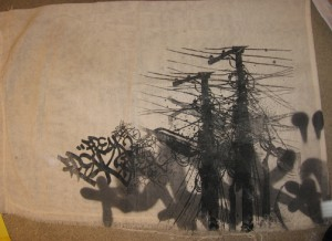 Hamilton  Yokota (Titi Freak) -  <strong>Rag</strong> (2006<strong style = 'color:#635a27'></strong>)<bR /> Silkscreen and Paint on Canvas,   20 x 28 inches