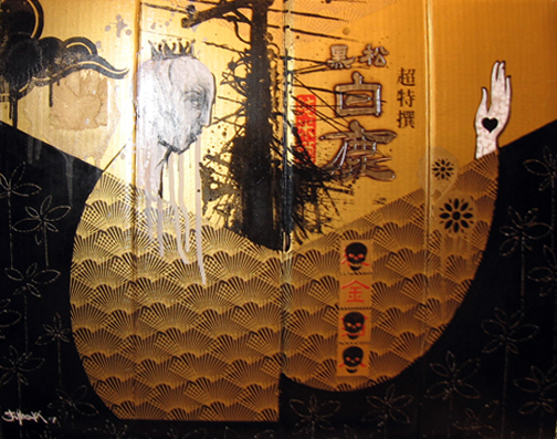Hamilton  Yokota (Titi Freak) -  <strong>Gold</strong> (2006<strong style = 'color:#635a27'></strong>)<bR /> Mixed Media on Sake Bottle Box,   21 x 17 inches