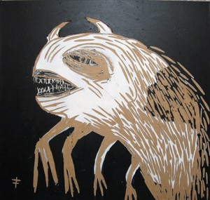 Fefê    -  <strong>Ugly Monster</strong> (<strong style = 'color:#635a27'></strong>)<bR /> Mixed Media on Scratchboard,   15 3/4 x 15 3/4 inches