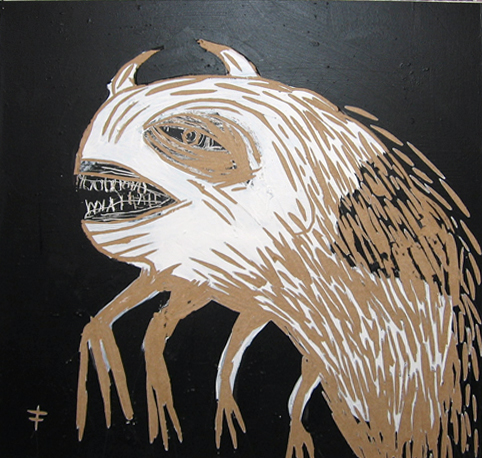 Fefê  &nbsp -  <strong>Ugly Monster</strong> (<strong style = 'color:#635a27'></strong>)<bR /> Mixed Media on Scratchboard,   15 3/4 x 15 3/4 inches