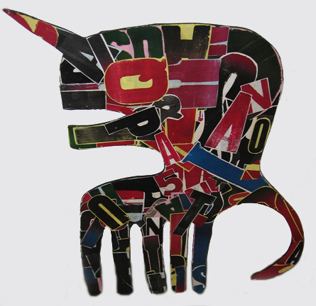 Fefê  &nbsp -  <strong>Unicorn</strong> (<strong style = 'color:#635a27'></strong>)<bR /> Mixed Media on Carved Wood,   38 x 35 inches