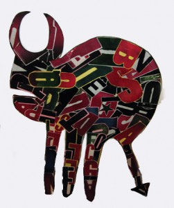 Fefê   -  <strong>Horned</strong> (<strong style = 'color:#635a27'></strong>)<bR /> Mixed Media on Carved Wood,   42 x 30 inches