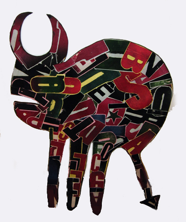Fefê  &nbsp -  <strong>Horned</strong> (<strong style = 'color:#635a27'></strong>)<bR /> Mixed Media on Carved Wood,   42 x 30 inches