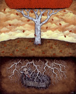 Andy  Kehoe -  <strong>Feeding Life</strong> (2007<strong style = 'color:#635a27'></strong>)<bR /> Acrylic and Oil on Wood Panel,   20 x 16 inches