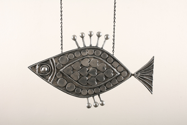 Josh  Agle (Shag) -  <strong>Fish Sculpture 3</strong> (2008<strong style = 'color:#635a27'></strong>)<bR /> Hand Carved and Hand Painted Wood,   22 x 13 1/2 inches