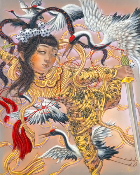 """Xiaoqing  Ding -  <strong>Flying</strong> (2007<strong style = 'color:#635a27'></strong>)<bR /> <font face=""""Arial"""">Pastel on Paper</font>,  <p class=""""MsoNormal""""><font face=""""Arial""""><span style=""""font-family: Helvetica;"""">Image size: 40 x 32 inches,   </span></font>,  <p class=""""MsoNormal""""><font face=""""Arial""""><span style=""""font-family: Helvetica;"""">Framed size: 41 x 33 inches</span></font>,  <p class=""""MsoNormal""""><span style=""""font-family: Helvetica;"""">,   </span>"""