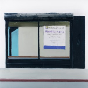 Brett Amory -  <strong>For Lease (Waiting #254)</strong> (2015<strong style = 'color:#635a27'></strong>)<bR /> oil on wood panel,   20 x 20 inches  (50.8 x 50.8 cm)