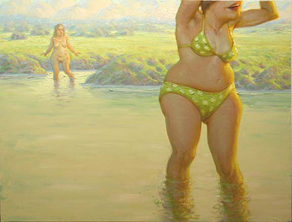 Andrew  Foster -  <strong>Yellow Polka Dot Bikini: Two Bathers in a California Impressionist's Landscape</strong> (2009<strong style = 'color:#635a27'></strong>)<bR /> oil on canvas,   Image size: 48 x 36 inches [91.4 x 121.9 cm],   Framed size: 37 3/4 x 49 1/2 inches [95.9 x 125.7 cm]