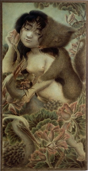 Xiaoqing  Ding -  <strong>Fox and Girl</strong> (2004<strong style = 'color:#635a27'></strong>)<bR /> Egg Tempera on Panel,   48 x 24 inches