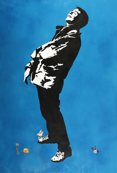 Blek le Rat  &nbsp -  <strong>Friends</strong> (2008<strong style = 'color:#635a27'></strong>)<bR /> Spraypaint on Canvas,   Edition of 1,   79 x 55 inches