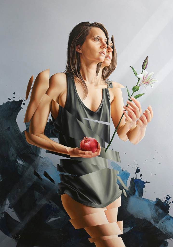 James Bullough -  <strong>From This Moment</strong> (2015<strong style = 'color:#635a27'></strong>)<bR />  oil, acrylic and spray paint on canvas,   60 x 40 inches,  (152.4 x 101.6 cm)