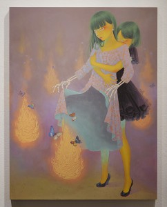 Fuco  Ueda -  <strong>Flame of This World and The Other World</strong> (2015<strong style = 'color:#635a27'></strong>)<bR /> acrylic on canvas,   25.66 x 19.68 inches  (65.2 x 50 cm)