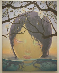Fuco  Ueda -  <strong>Spring Rain</strong> (2010<strong style = 'color:#635a27'></strong>)<bR /> acrylic and shell white on canvas,   45.94 x 35.82 inches  (116.7 x 91 cm)