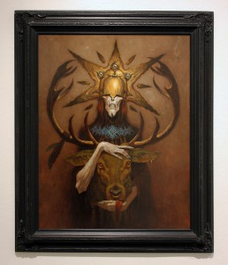 Gerald  Brom -  <strong>Lord Kashaol</strong> (2015<strong style = 'color:#635a27'></strong>)<bR /> oil on illo board,   20 x 30 inches  (50.8 x 76.2 cm)