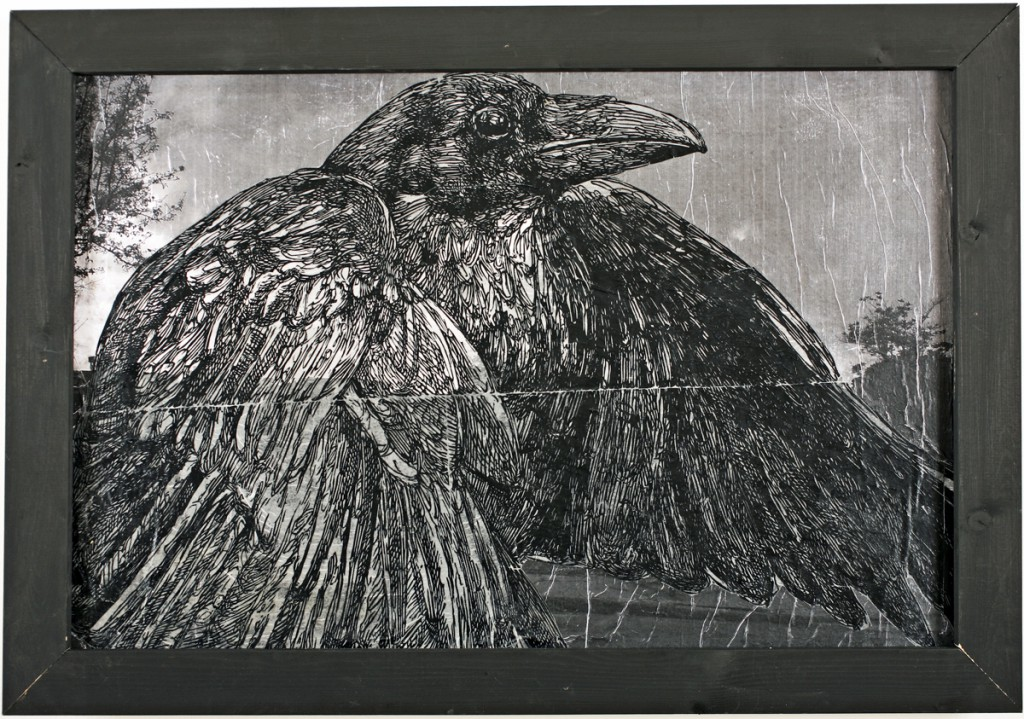 Gaia  &nbsp -  <strong>Raven of the East Side</strong> (2011<strong style = 'color:#635a27'></strong>)<bR /> mixed media on panel  (ink, pencil and acrylic on digital print and canvas),   36 x 48 inches (3 x 4 ft)  (91.44 x 121.92 cm)